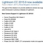 Camera Raw / Lightroom Update adds EM1 II, GH5, M10 and  X-T20 support