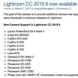 Camera Raw / Lightroom Update adds EM1 II, GH5, M10 and  X-T20 support